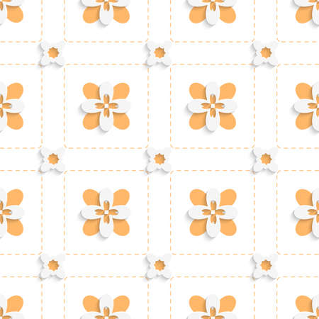 Abstract 3d seamless background. Dashed squares with orange flowers pattern with cut out of paper 3d effect.    Ilustrace