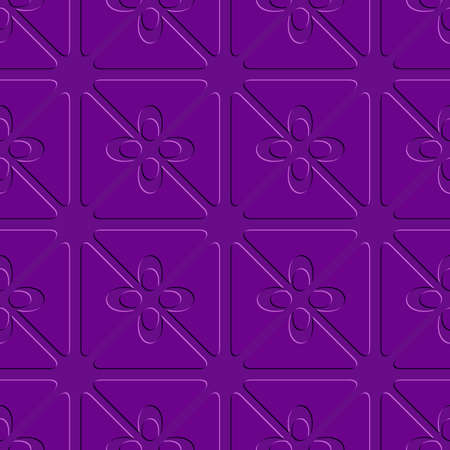 Abstract 3d seamless background. Embossed purple flourish simple pattern with cut out of paper 3d effect.    Illustration