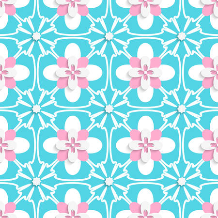 floristic: Abstract seamless background. Floristic turquoise and pink tile ornament with cut out of paper effect.