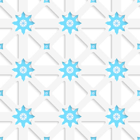 Abstract seamless background. White net and snowflakes with shadow tile ornament. Banco de Imagens - 29749617