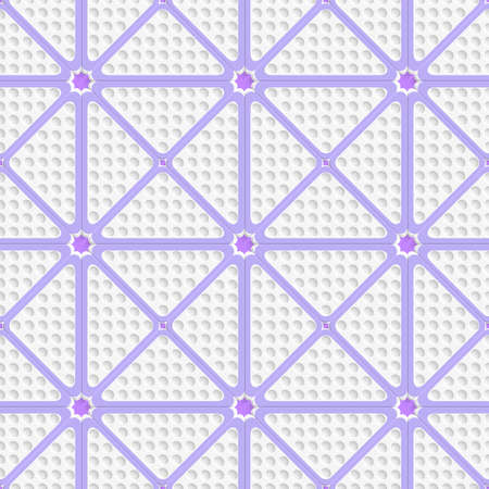 perforated: Abstract seamless background. White perforated triangles with purple lines tile ornament.