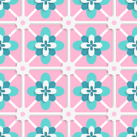 floristic: Abstract seamless background. Floristic green and pink tile ornament with cut out of paper effect.