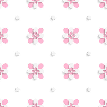 floristic: Abstract seamless background. Floristic simple pink tile ornament with cut out of paper effect.    Illustration