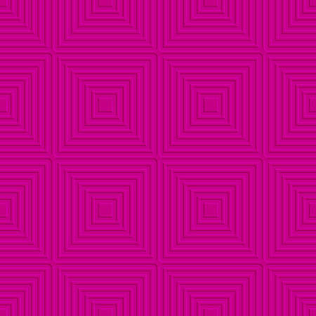 Abstract seamless background. Pink offset squares embossed tile ornament.   Illustration