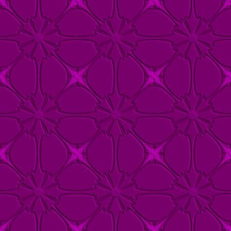 Abstract seamless background. Purple flourish embossed tile ornament.   Illustration