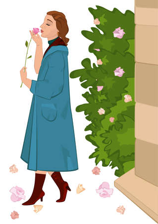 Illustration of retro young woman holding flower near rose bush. Retro girl sniffing rose flower.