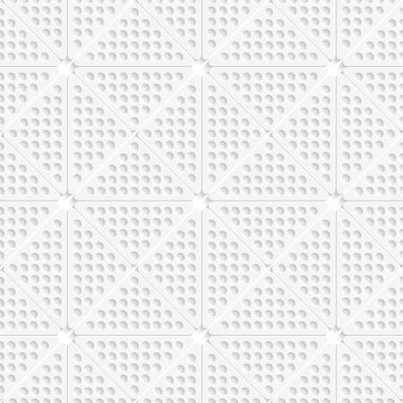 perforated: Abstract seamless background. White perforated triangles with realistic shadow tile ornament.   Illustration