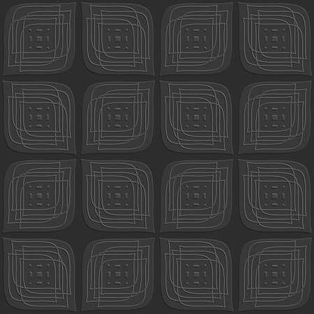 Abstract 3d seamless background. Dark gray leaves embossed with linear embossed details on top.