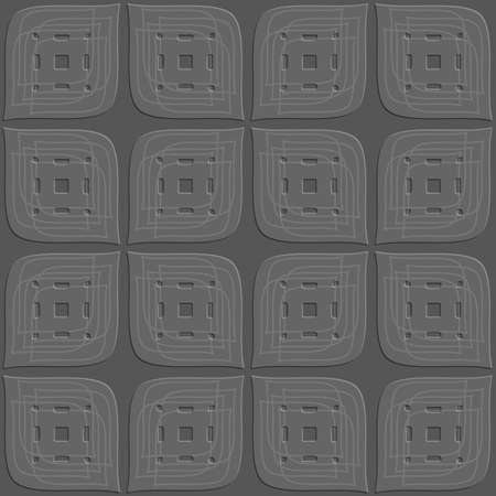 Abstract 3d seamless background. Dark gray perforated leaves embossed with linear details on top.