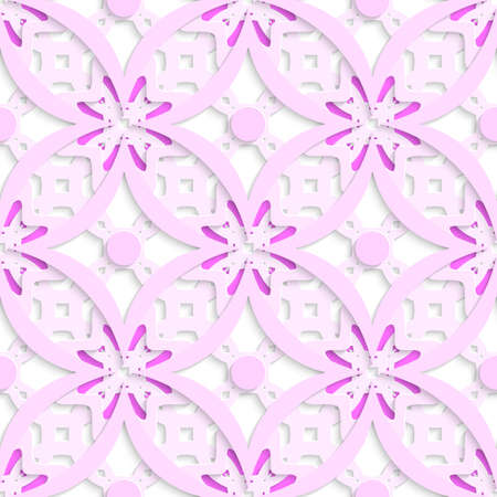 Abstract 3d geometrical seamless background. Pink complicated layered with cut out of paper effect.