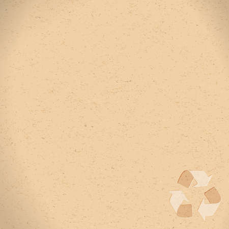 Recycling symbol embossed on brown recycling paper background with copy space. Old brown recycling material texture with recycling arrows.    Ilustração