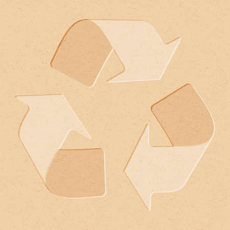 Recycling symbol embossed on brown recycling paper. Old brown recycling material texture with recycling arrows.