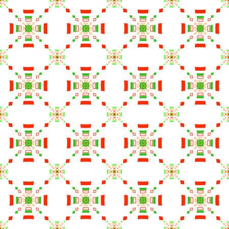 tillable: Abstract geometrical seamless background. Red and green rectangle gropes flat pattern.