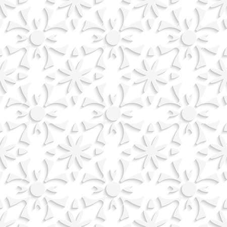 Abstract 3d seamless background. Simple geometrical pattern white repainting flowers with cut out of paper effect.
