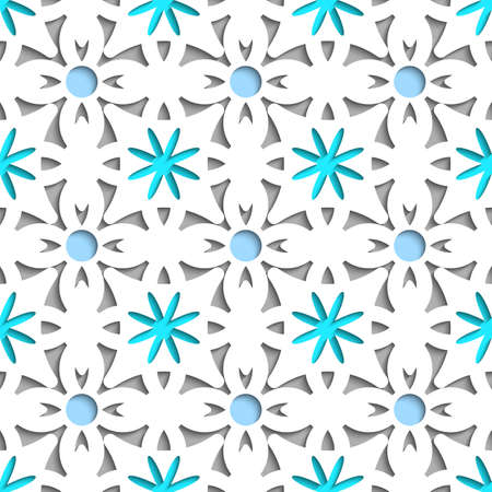 perforated: Abstract 3d seamless background. Simple geometrical pattern white repainting flowers with cut out of paper effect and blue color underneath.