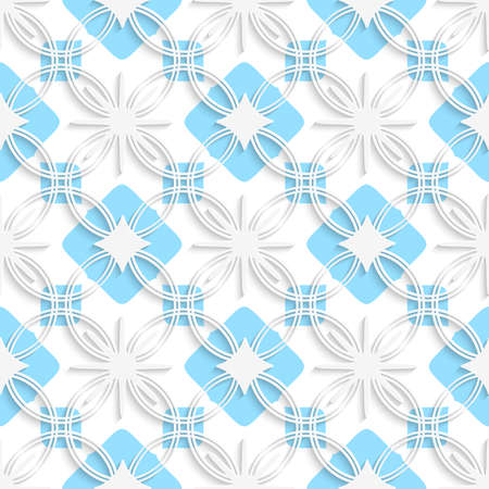 Abstract 3d seamless background. White detailed ornament layered on flat blue with out of paper effect.   Vector