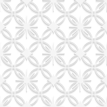 Abstract 3d seamless background. White detailed ornament with out of paper effect.