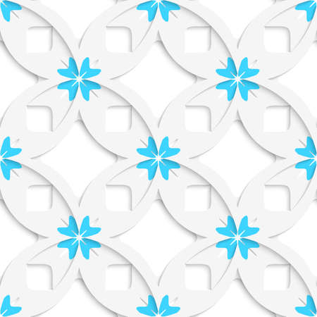 Abstract 3d seamless background. White geometrical flowers and squares layered with out of paper effect.