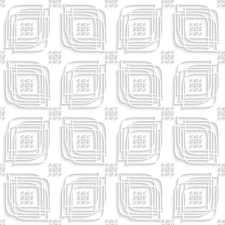 rounded rectangle: Abstract 3d seamless background. White linear leaves and rounded rectangle groups with cut out of paper effect.
