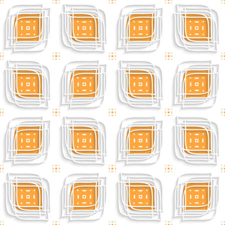 Abstract 3d seamless background. White linear leaves with cut out of paper effect layered on orange.