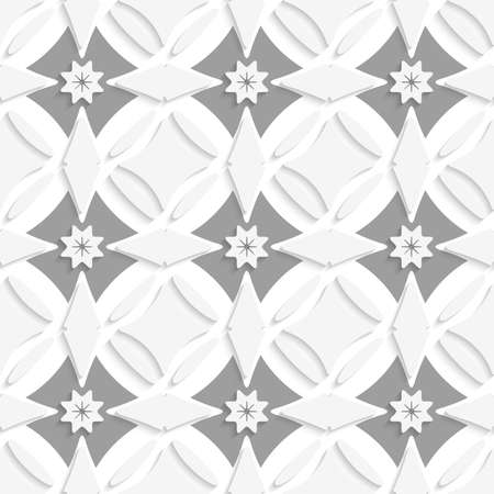 Abstract 3d seamless background. White ornament and gray crosses with cut out of paper effect.