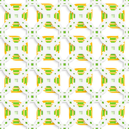 perforated: Abstract 3d geometrical seamless background. White perforated ornament with green orange and cut out of paper effect.
