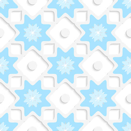 Abstract 3d seamless background. White snowflakes and dots with blue top and out of paper effect.