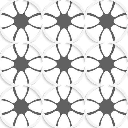 Abstract 3d seamless background. White rhombuses cut out o paper with shadow on gray ornament.