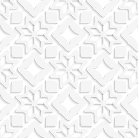 perforated: Abstract 3d seamless background. White snowflakes and white squares with out of paper effect.   Illustration