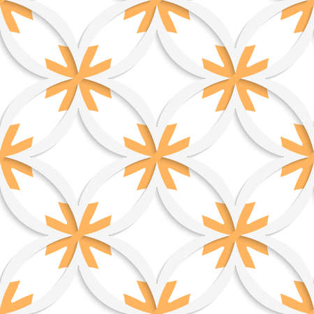 Abstract 3d seamless background. White vertical pointy squares with orange layering and cut out of paper effect.