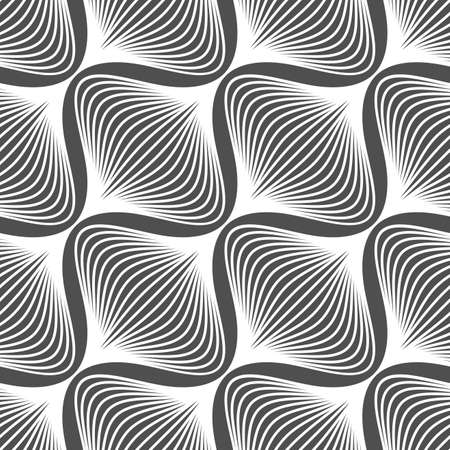 black background: Abstract seamless background. Black and white simple wavy onion shapes pattern.   Illustration