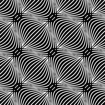 Abstract seamless background. Black and white simple wavy pattern.