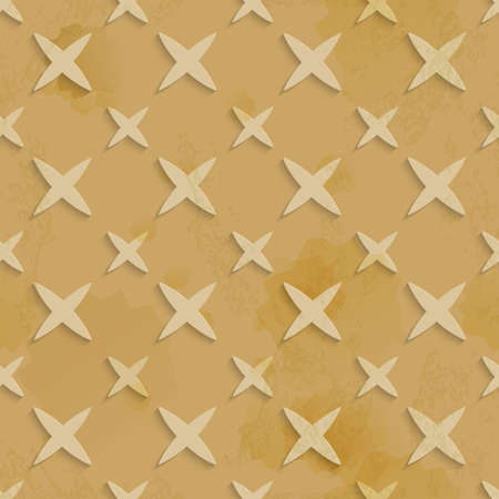 Abstract 3d geometrical seamless background. Brown recycling paper with grange and stains layered with cut out of paper stars pattern.