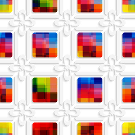 Abstract 3d geometrical seamless background. Colorful squares and white flowers cut out of paper effect.