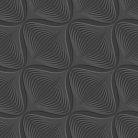 Abstract 3d seamless background. Dark geometrical diagonal onion shape pattern with embossed effect.
