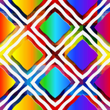 rim: Abstract 3d geometrical seamless background. Rainbow colored rectangles and rim on rainbow background with cut out of paper effect.   Illustration