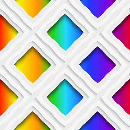 rim: Abstract 3d geometrical seamless background. Rainbow colored rectangles holes and rim with cut out of paper effect.