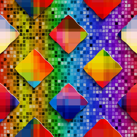 Abstract 3d geometrical seamless background. Rainbow colored rectangles on rainbow colored mosaic.