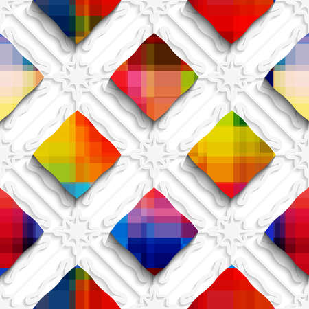 three layered: Abstract 3d geometrical seamless background. Rainbow colored rectangles on white ornament with cut out of paper effect.  Illustration