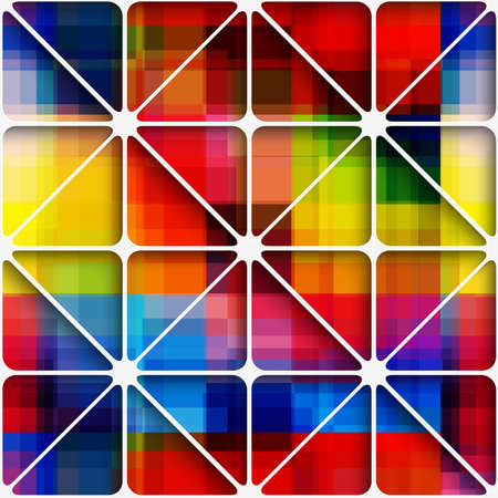 three colored: Abstract 3d geometrical seamless background. Colorful overplayed rectangles create blurred rainbow pixel background layered net with cut out of paper effect.   Illustration