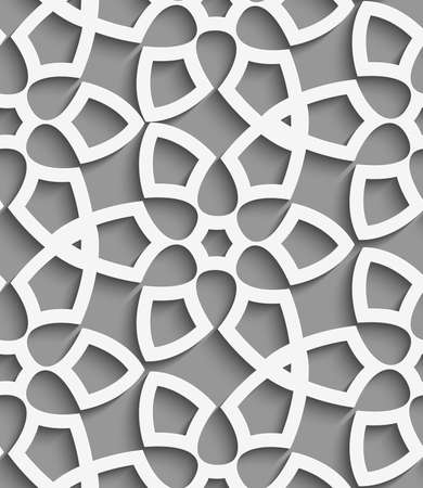 perforated: Abstract 3d seamless background. White  geometrical floristic net on gray pattern with cut out of paper effect.