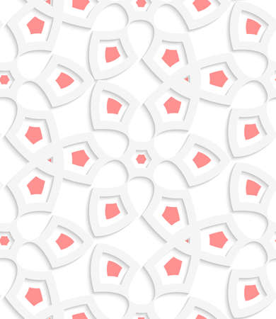 Abstract 3d seamless background. White  geometrical floristic net with light red pattern with cut out of paper effect.