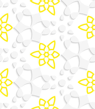 Abstract 3d seamless background. White  geometrical floristic with yellow layering pattern with cut out of paper effect.