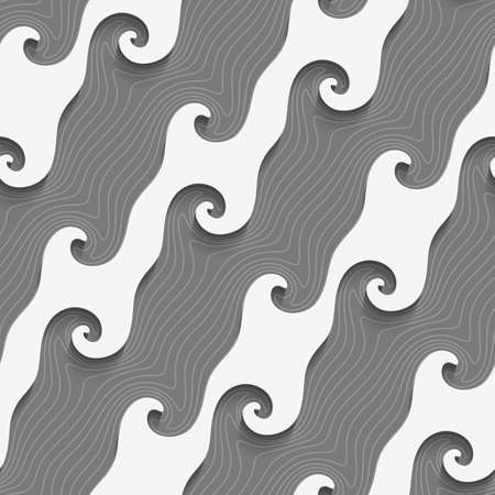 Abstract 3d geometrical seamless background. White curved diagonal lines on textured gray pattern with cut out of paper effect.  Ilustração
