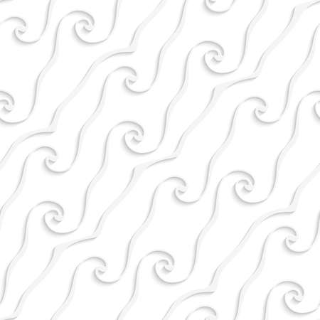 Abstract 3d geometrical seamless background. White curved lines and swirls with cut out of paper effect.  Ilustração