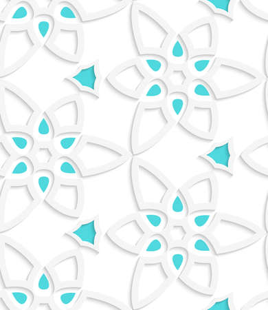 Abstract 3d geometrical seamless background. White floristic swirl lace pattern with blue with cut out of paper effect.