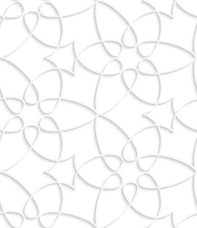 Abstract 3d geometrical seamless background. White floristic swirl pattern with cut out of paper effect.