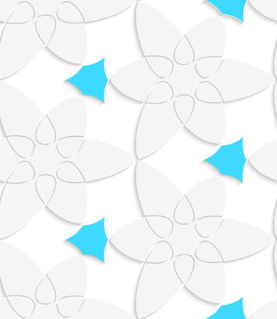 Abstract 3d geometrical seamless background. White floristic swirl with blue pattern with cut out of paper effect.