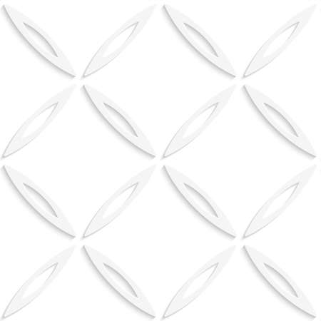 Abstract 3d geometrical seamless background. White oval net with cut out of paper effect.