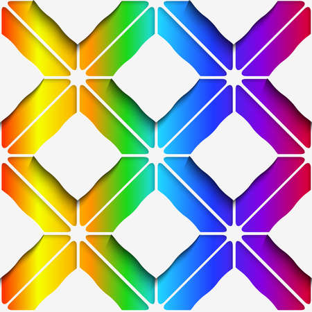 three layered: Abstract 3d geometrical seamless background. White rectangles and white ornament with cut out of paper effect on rainbow colored background.